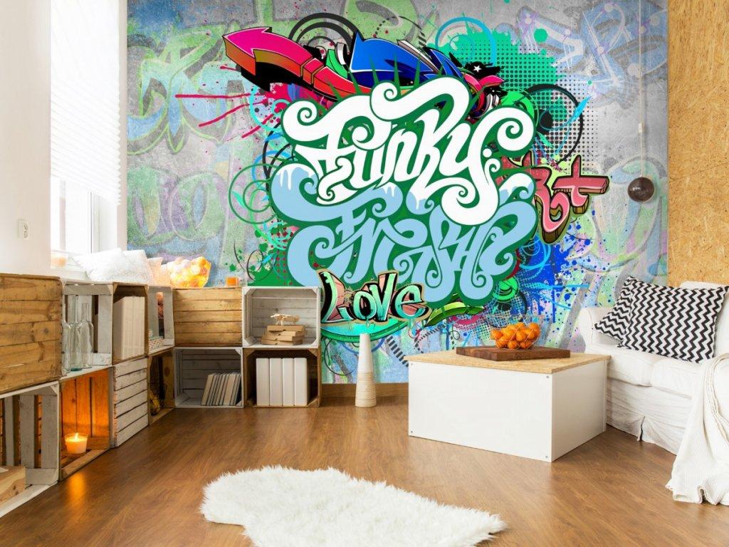 Fototapeta Graffiti v mátové (Rozměry (š x v) a Typ 147x105 cm - samolepící)