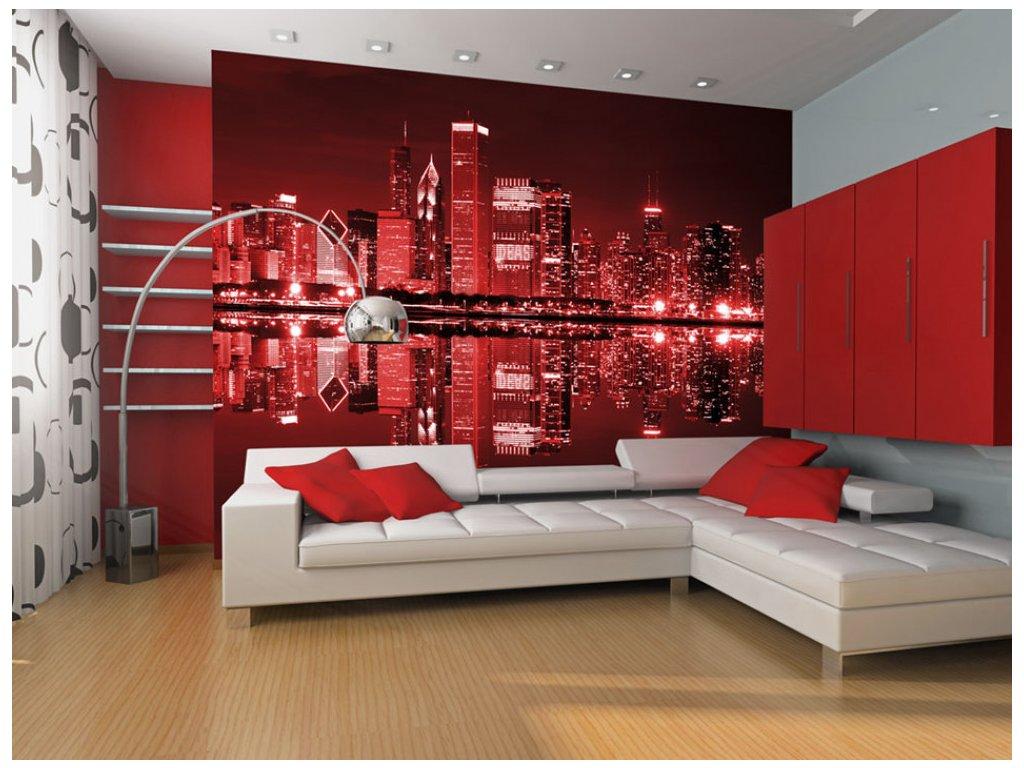 Fototapeta noční Chicago Red (Rozměry (š x v) a Typ 147x116 cm - samolepící)