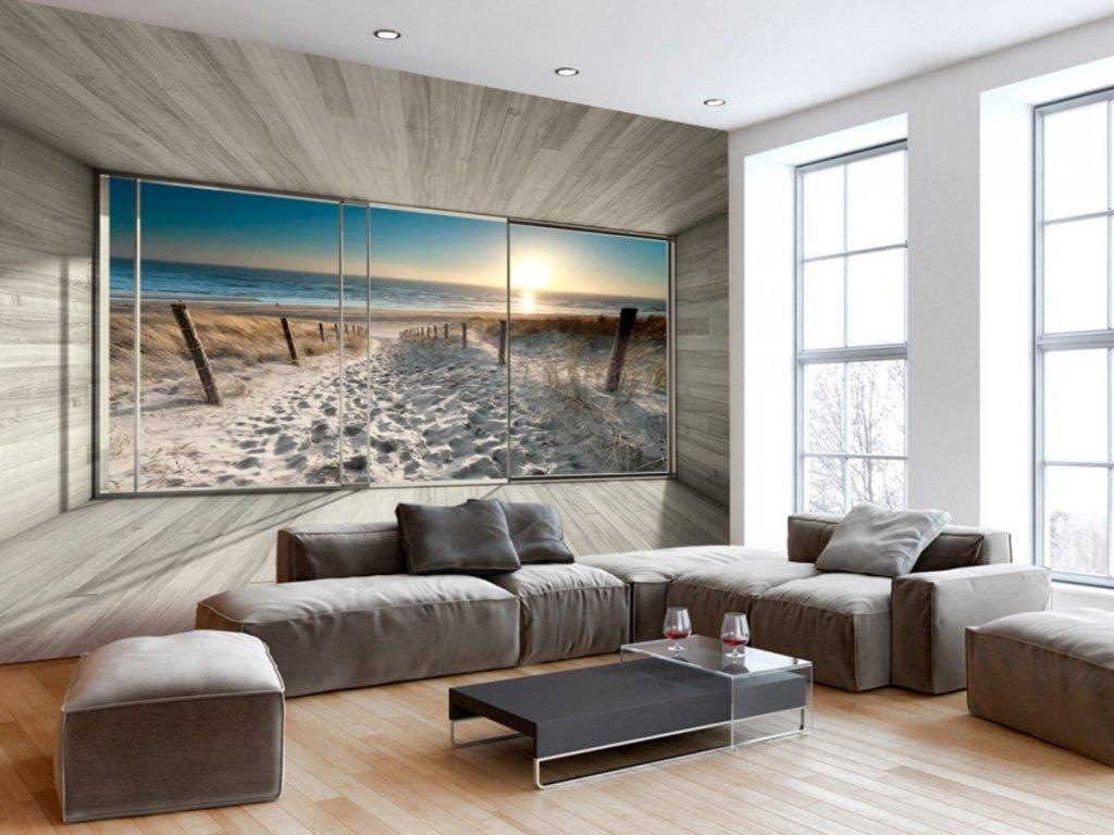 Fototapeta okna s výhledem na pláž (Rozměry (š x v) a Typ 147x105 cm - samolepící)