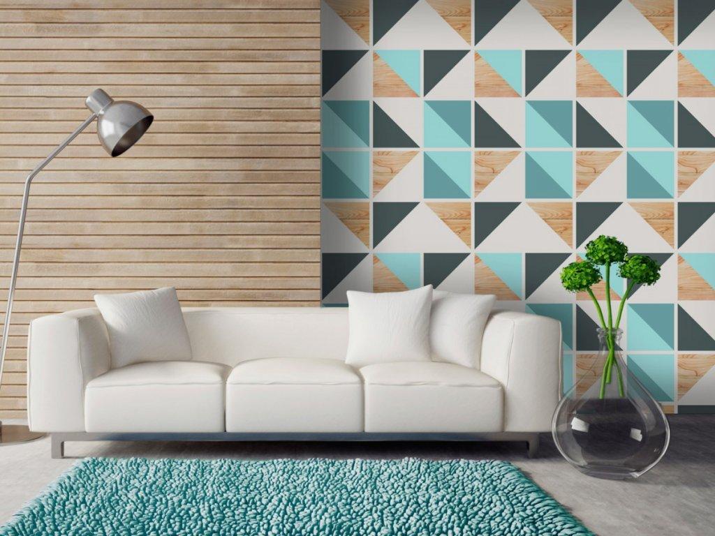 Geometrické duo (Klasické tapety 49x1000 cm - samolepicí)