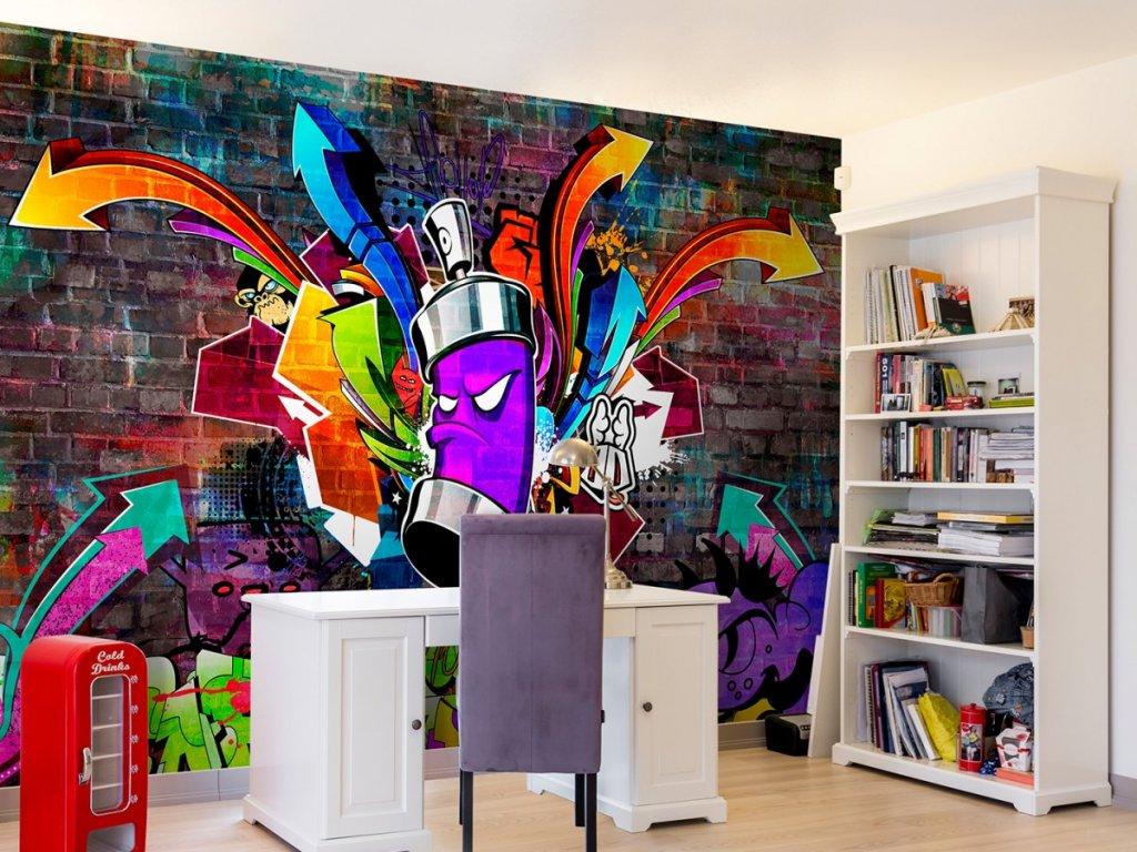 Graffiti barevný útok (Rozměry (š x v) a Typ 147x105 cm - samolepící)