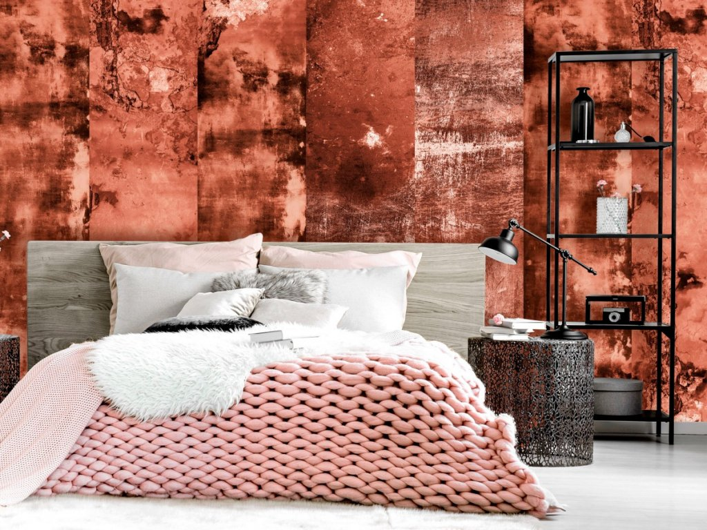 Hnědo červený beton (Klasické tapety 49x1000 cm - samolepicí)