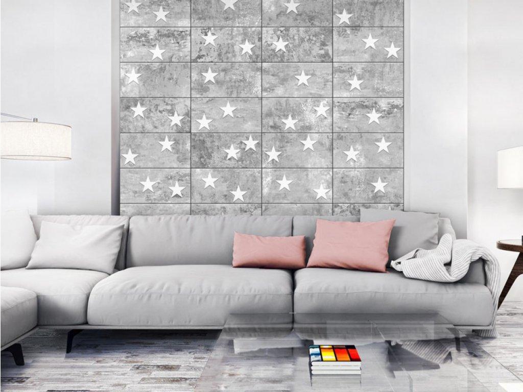 Hvězdy na betoně (Klasické tapety 49x1000 cm - samolepicí)