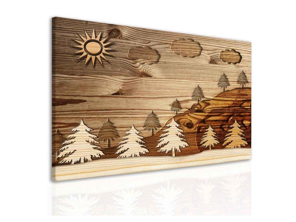 Imitace dřevěného obrazu - les (Velikost (šířka x výška) 100x75 cm)