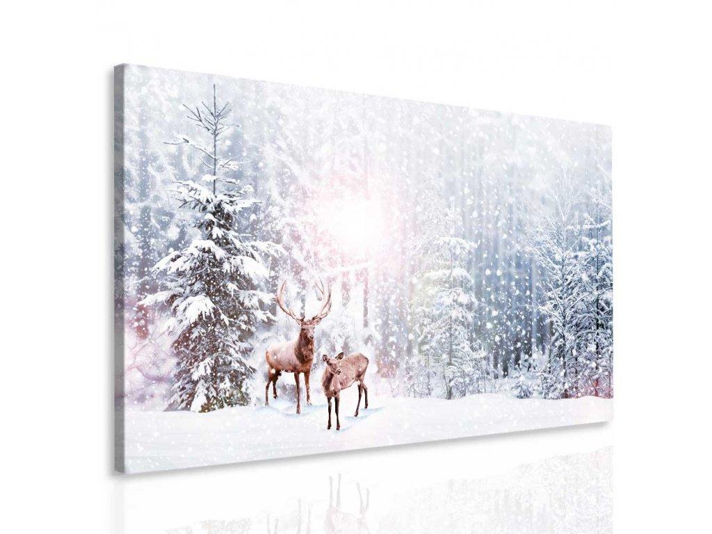 Jelen v zimě (Velikost 120x70 cm)