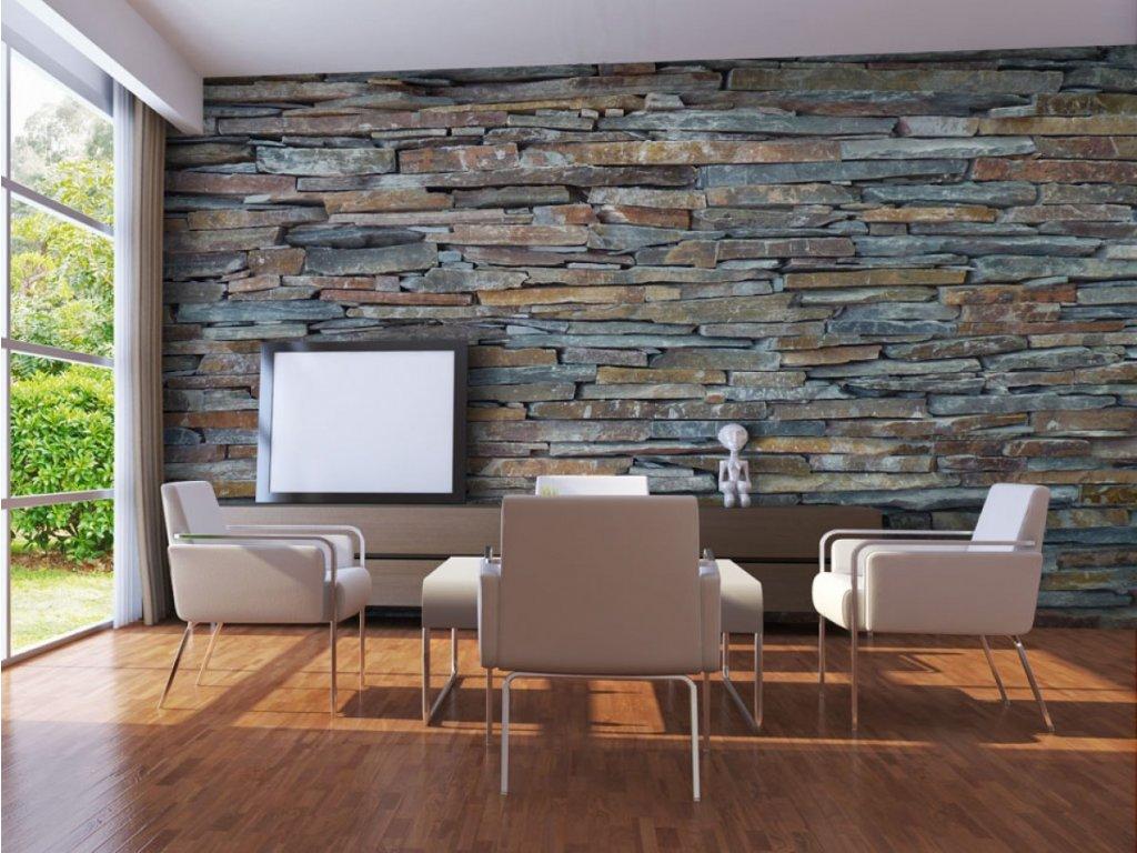 Kamenná stěna barevná (Rozměry (š x v) a Typ 147x116 cm - samolepící)