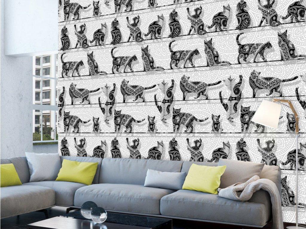 Kočičí den (Klasické tapety 49x1000 cm - samolepicí)