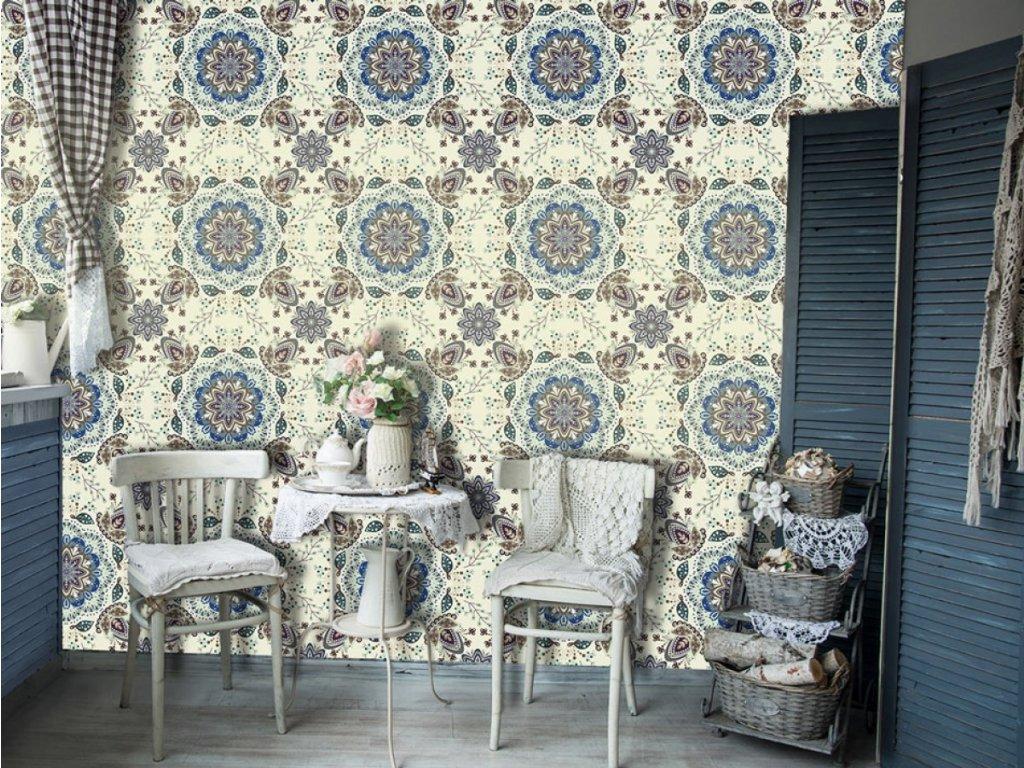 Květinové pole modré (Klasické tapety 49x1000 cm - samolepicí)