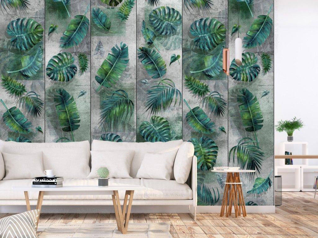 Listy na betoně - tmavě zelené (Klasické tapety 49x1000 cm - samolepicí)