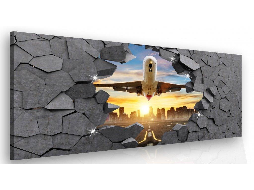 Luxusní obraz - letadlo v kameni (Velikost 150x100 cm)