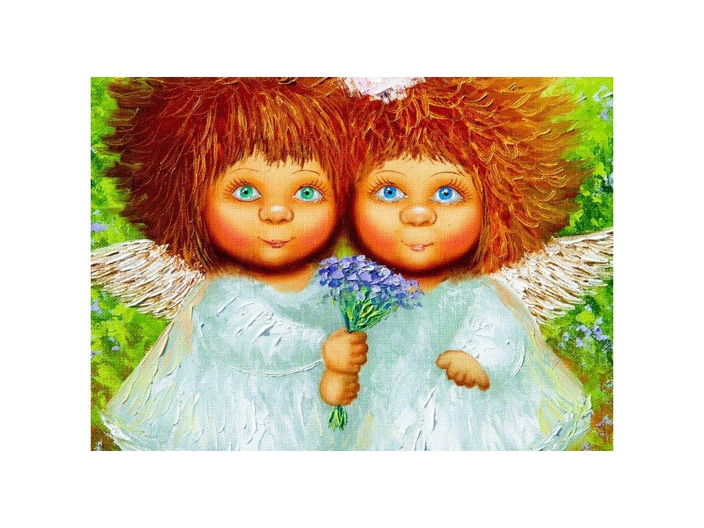 Malovaný obraz - dva andělíčci (Velikost (šířka x výška) 120x80 cm)