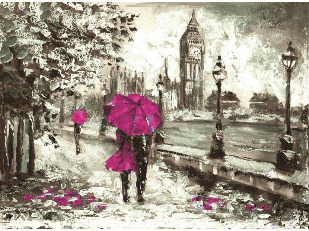 Malovaný obraz - procházka po Londýně (Velikost (šířka x výška) 120x80 cm)