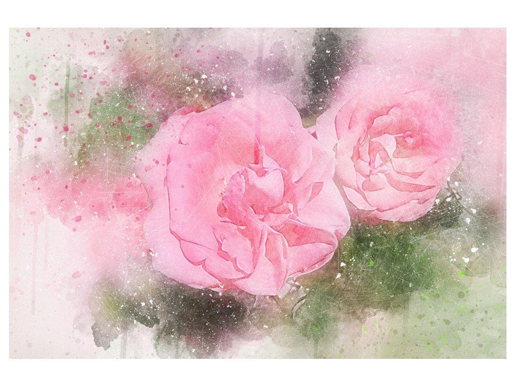 Malovaný obraz - růžové květy (Velikost 120x80 cm)