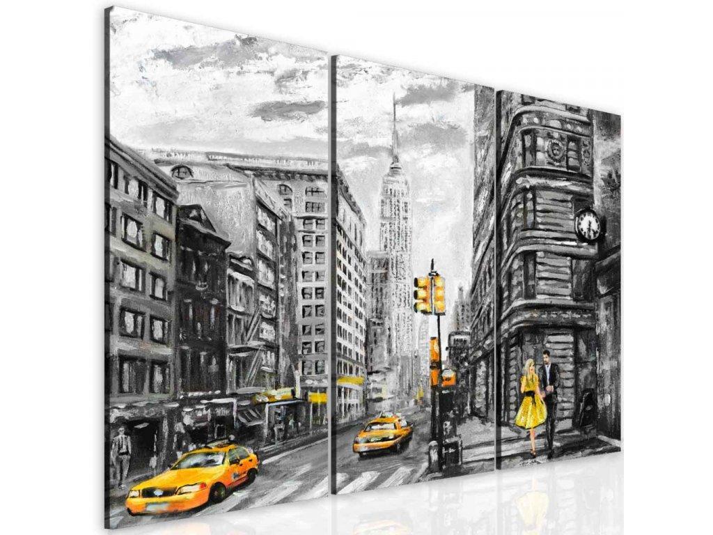 Malovaný obraz žlutý New York (Velikost 60x50 cm)
