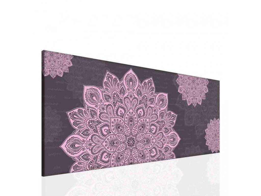 Mandala fialový obraz (Velikost (šířka x výška) 100x40 cm)