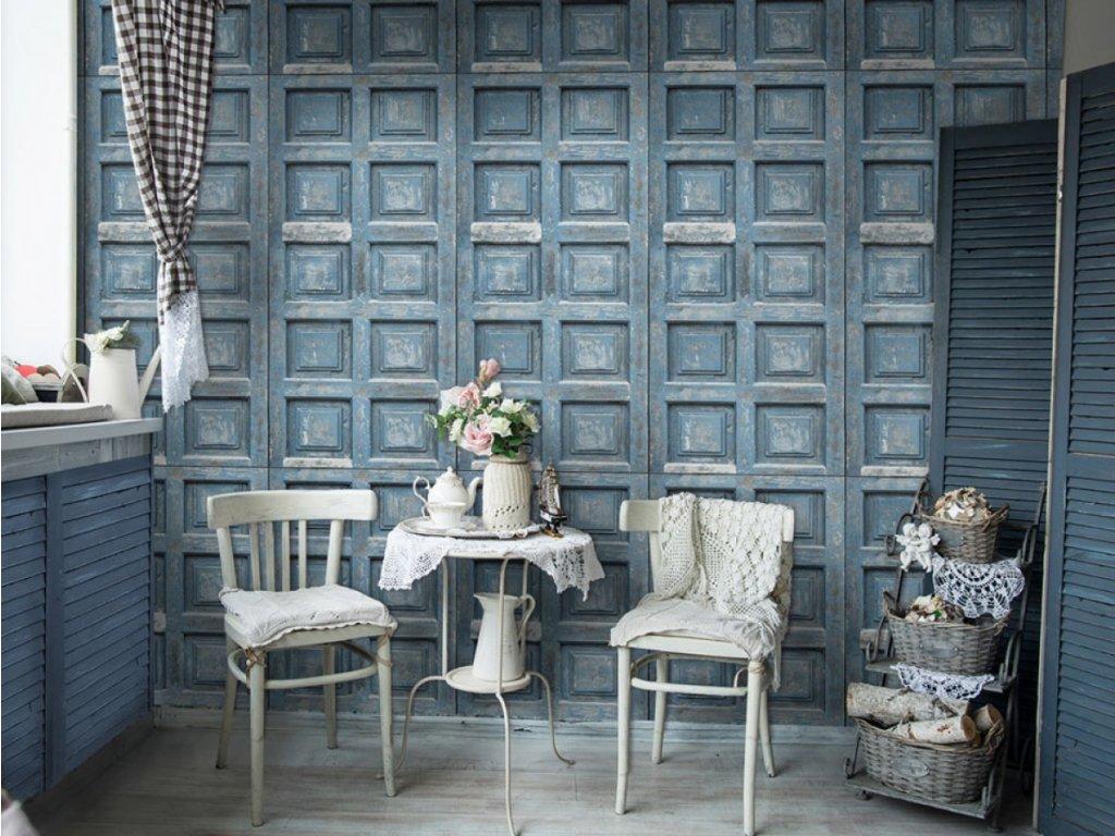 Modrá kazetová stěna (Klasické tapety 49x1000 cm - samolepicí)