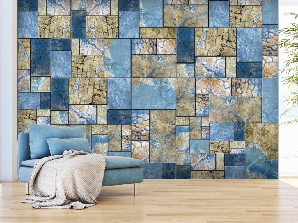 Modrá mozaika (Rozměry (š x v) a Typ 147x105 cm - samolepící)
