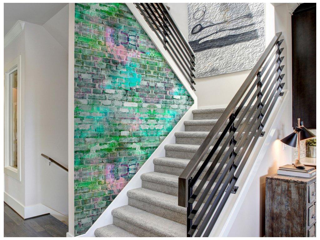 Neonová cihlová zeď (Klasické tapety 49x1000 cm - samolepicí)
