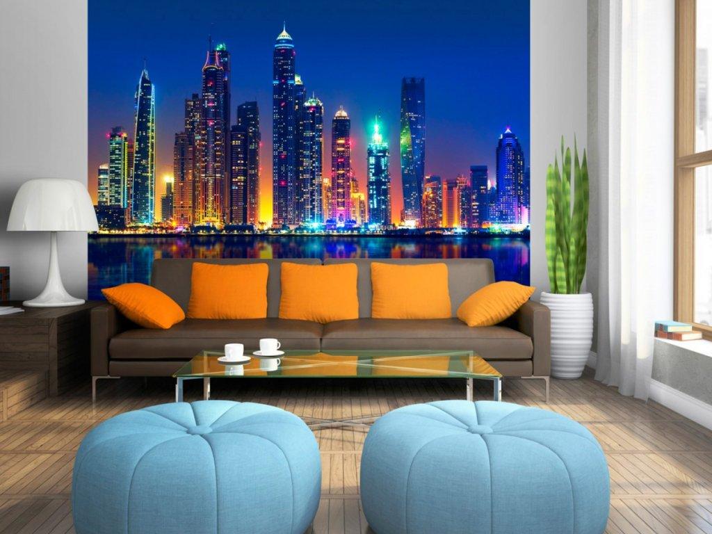Noční město - Dubaj (Rozměry (š x v) a Typ 147x105 cm - samolepící)