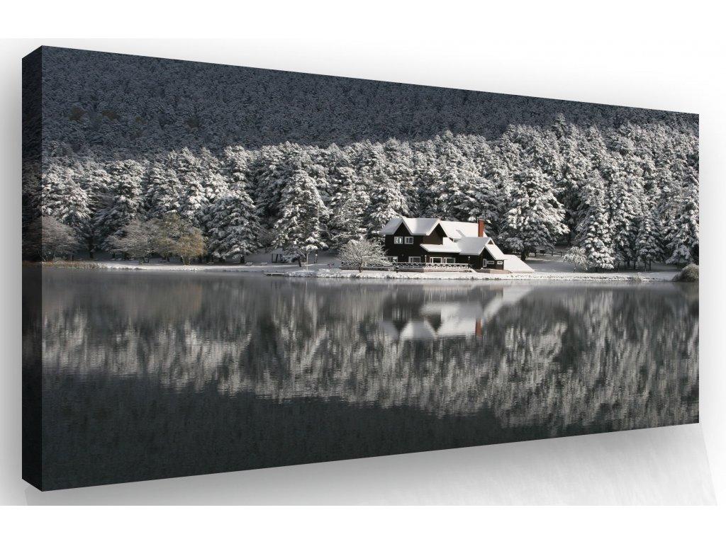 Obraz - dům v zimě (Velikost 150x100 cm)