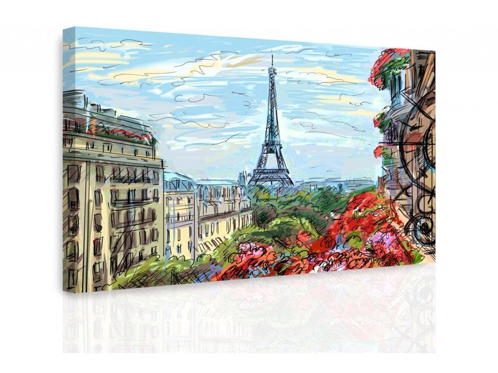 Obraz - Kreslená Paříž (Velikost 120x80 cm)