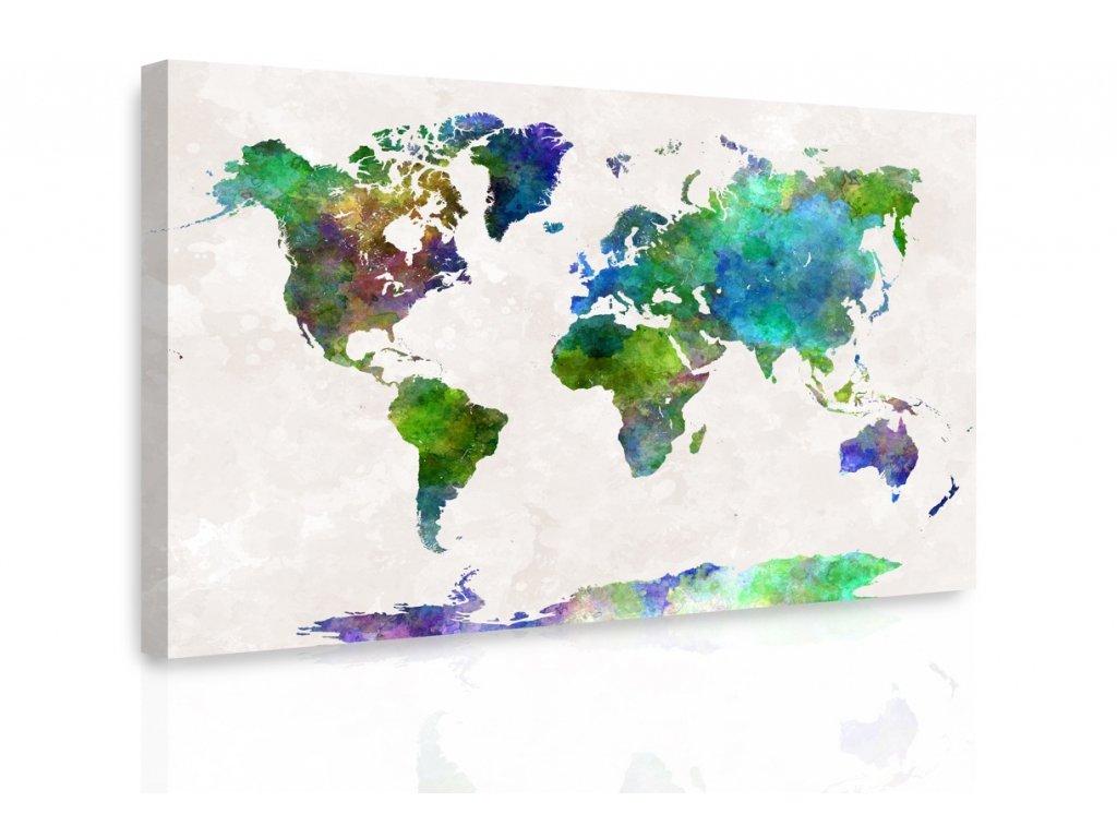 Obraz - Mapa na akvarelu II. (Velikost 120x80 cm)