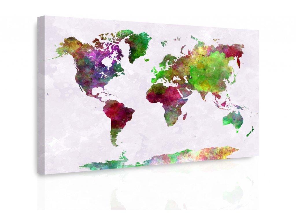 Obraz - Mapa na akvarelu III. (Velikost 150x100 cm)