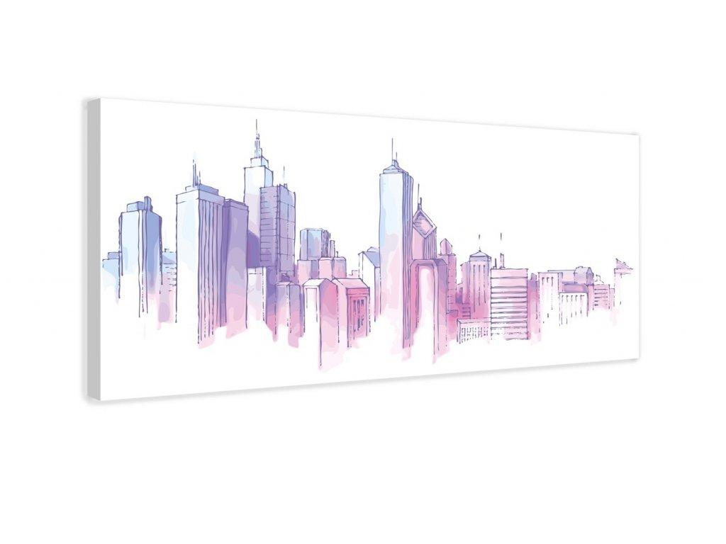 Obraz - Město barevné skvrny (Velikost 80x40 cm)