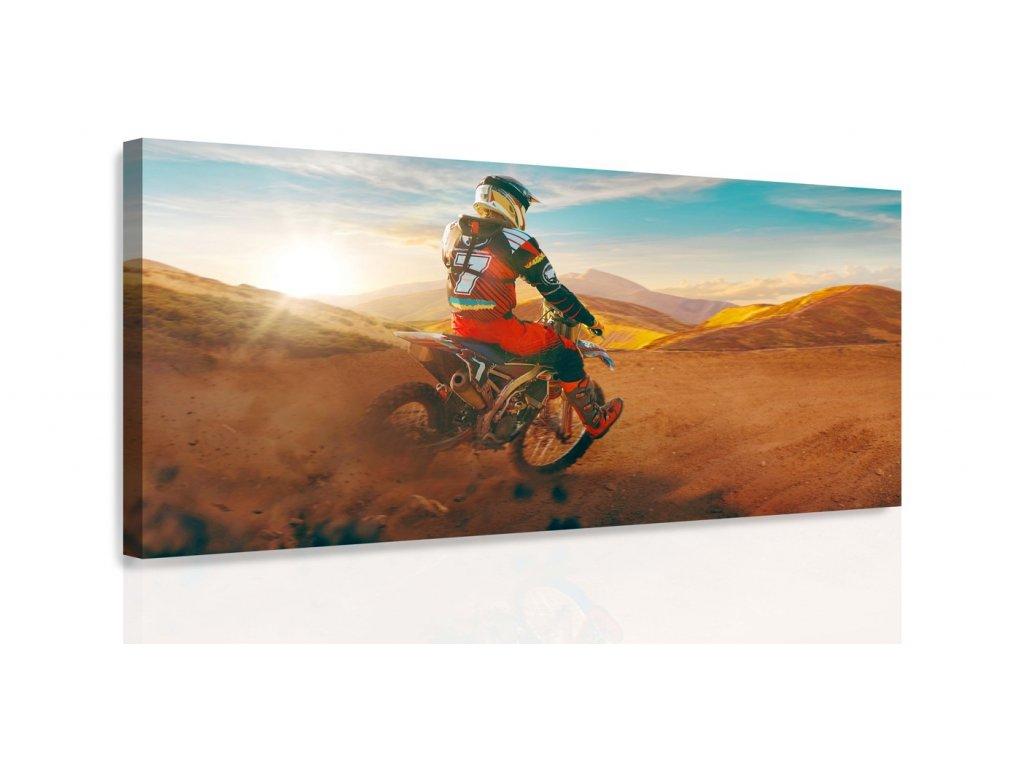 Obraz - Motorkář v poušti (Velikost 80x40 cm)