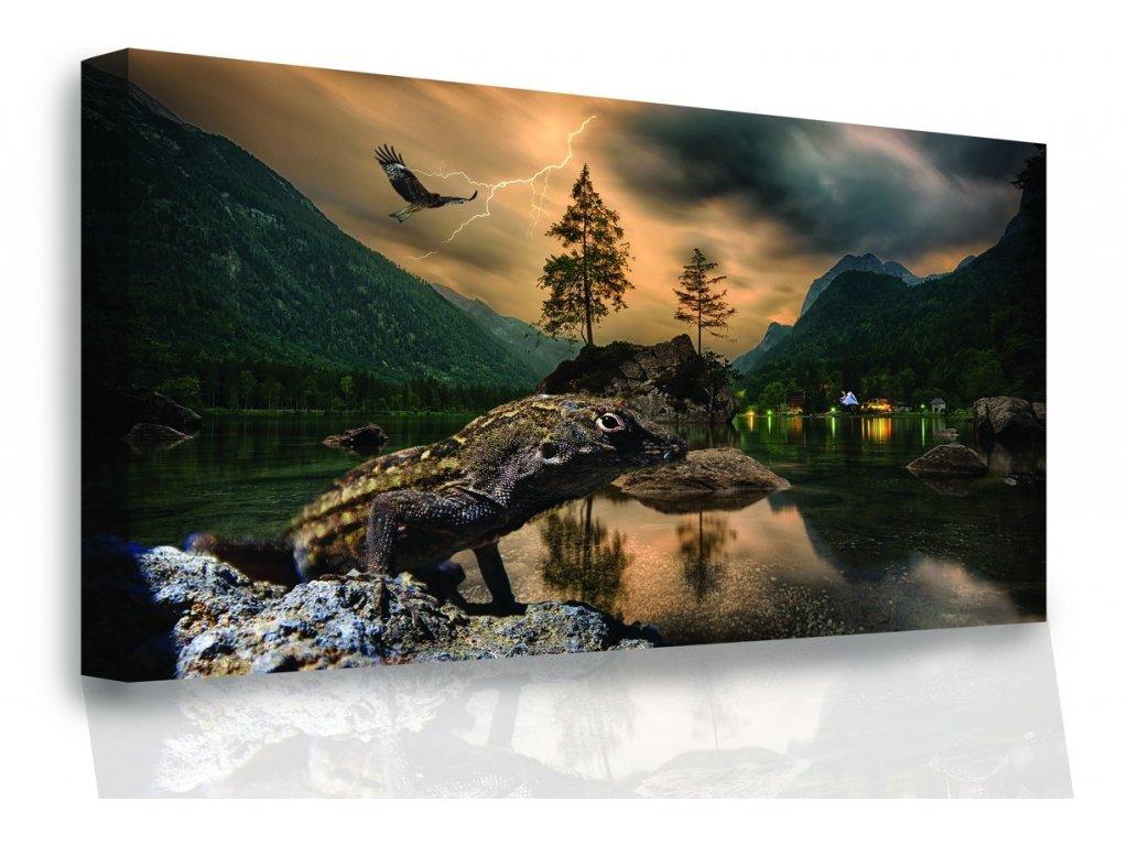Obraz - Řeka se zvířaty (Velikost 60x40 cm)