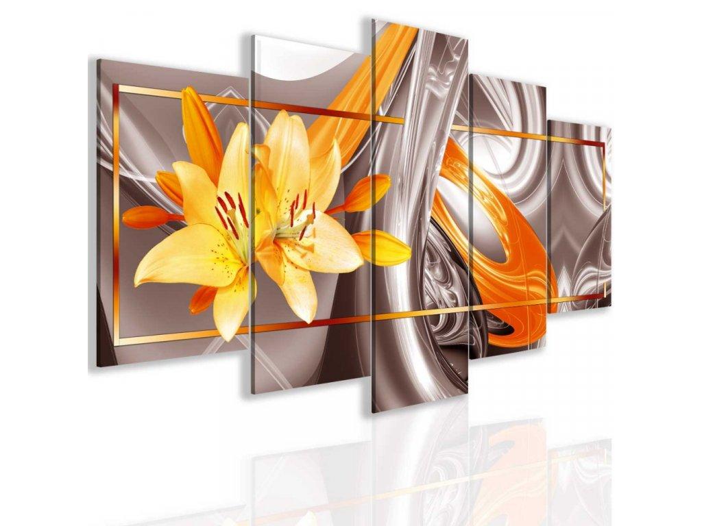 Obraz abstraktní lilie zlatá (Velikost 150x75 cm)