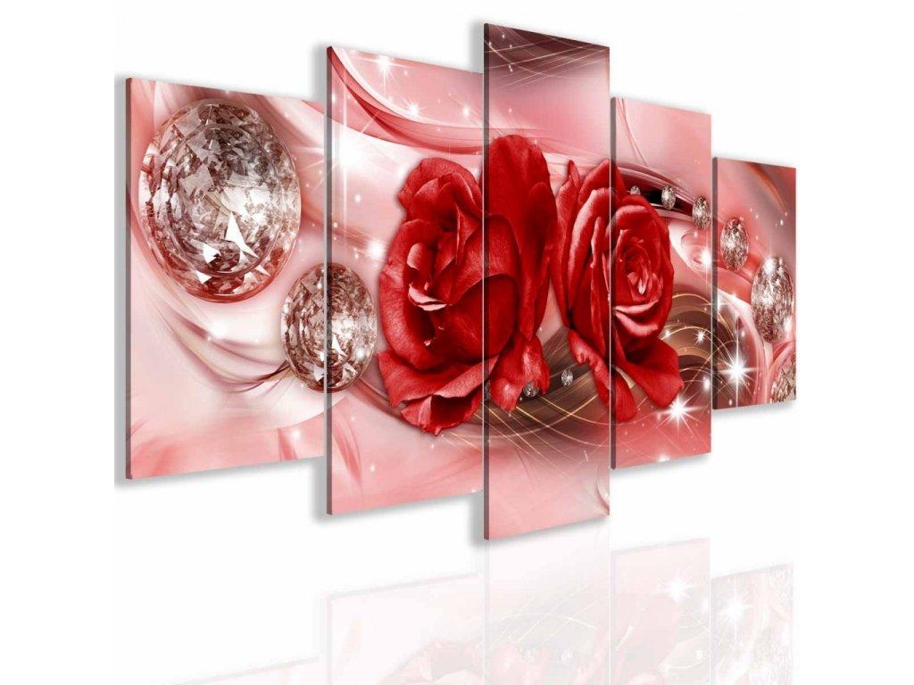Obraz abstraktní růže červená (Velikost 150x75 cm)