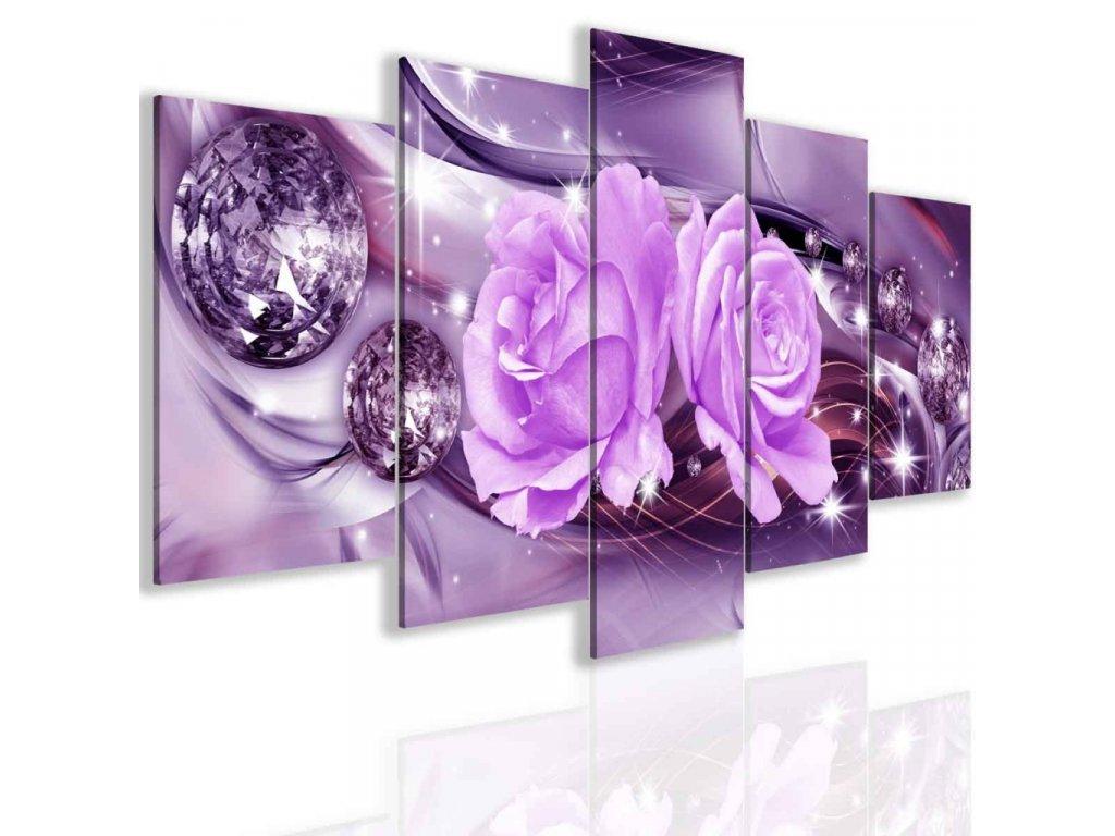 Obraz abstraktní růže fialová (Velikost 150x75 cm)