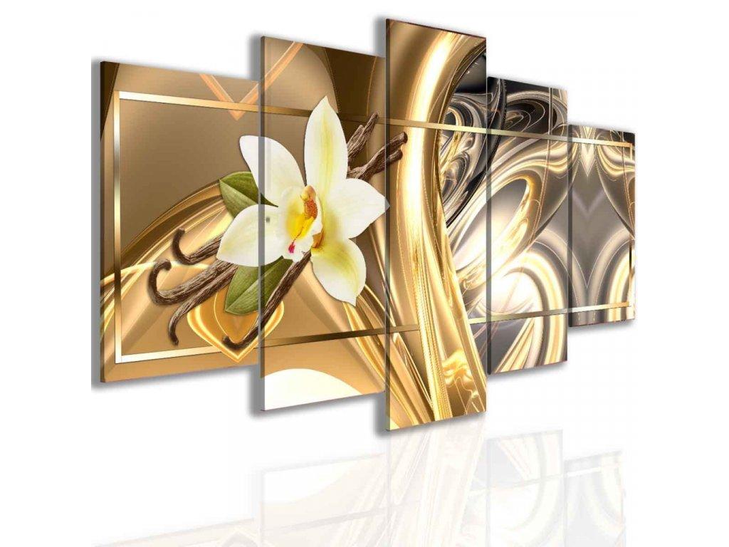 Obraz abstraktní vanilka zlatá (Velikost 150x75 cm)
