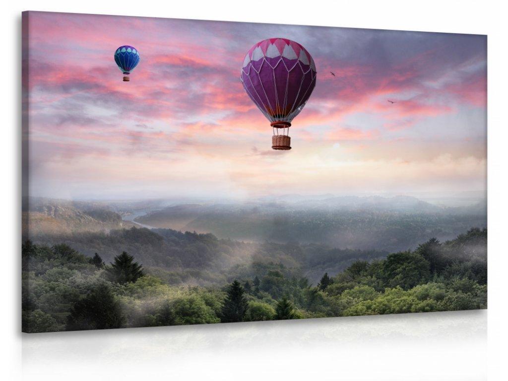 Obraz balóny nad lesem (Velikost (šířka x výška) 120x80 cm)