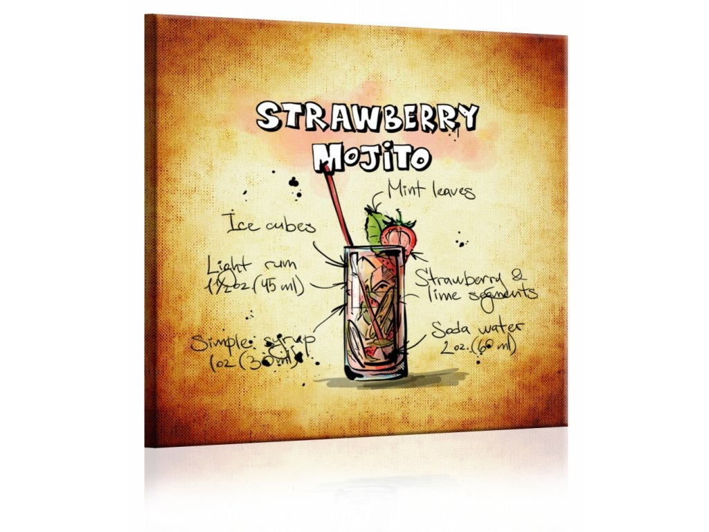 Obraz cedule Strawberry Mojito (Velikost (šířka x výška) 30x30 cm)