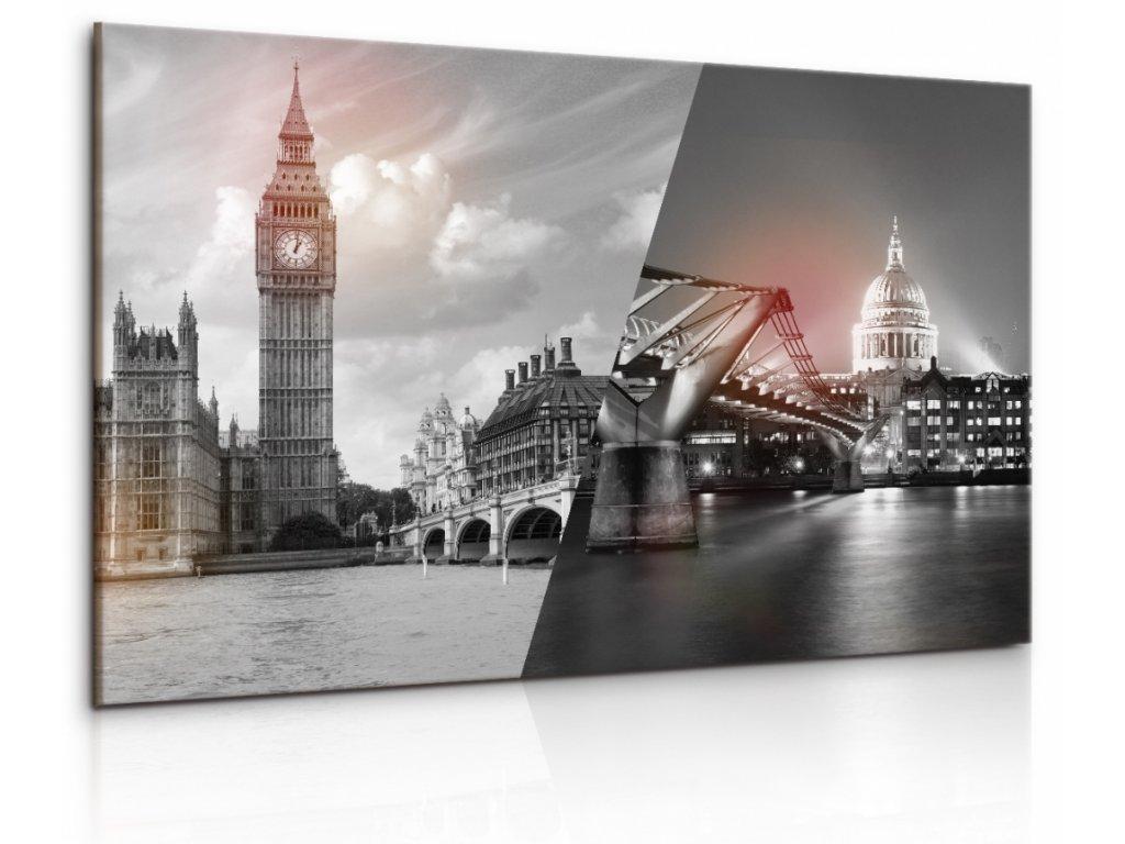 Obraz Černobílá koláž Londýna (Velikost 120x80 cm)
