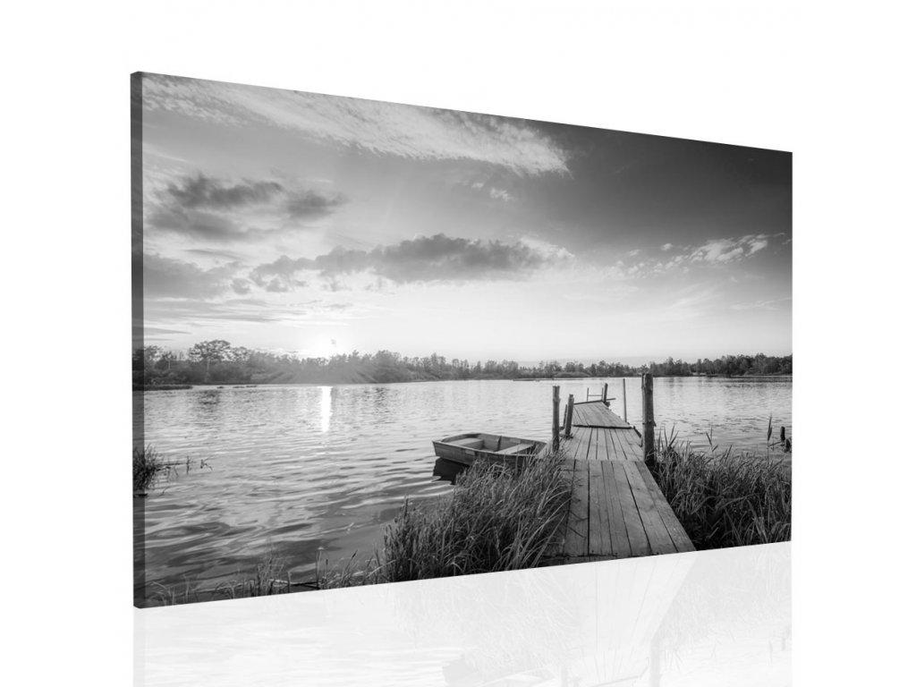 Obraz černobílé jezero (Velikost 120x80 cm)