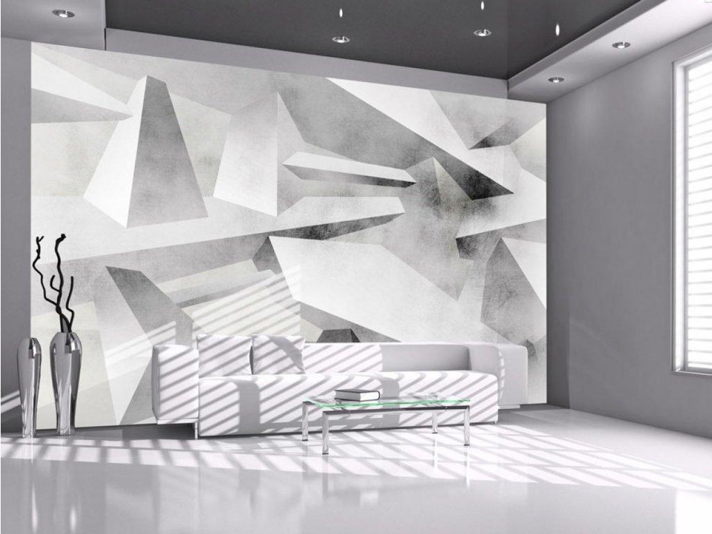 3D abstraktní tapeta šedá (Rozměry (š x v) a Typ 147x105 cm - samolepící)