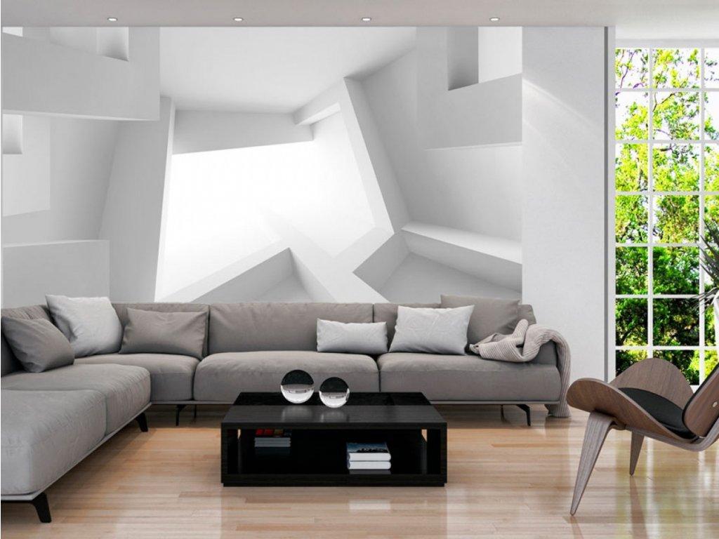 3D tapeta - bílá (Rozměry (š x v) a Typ 147x105 cm - samolepící)