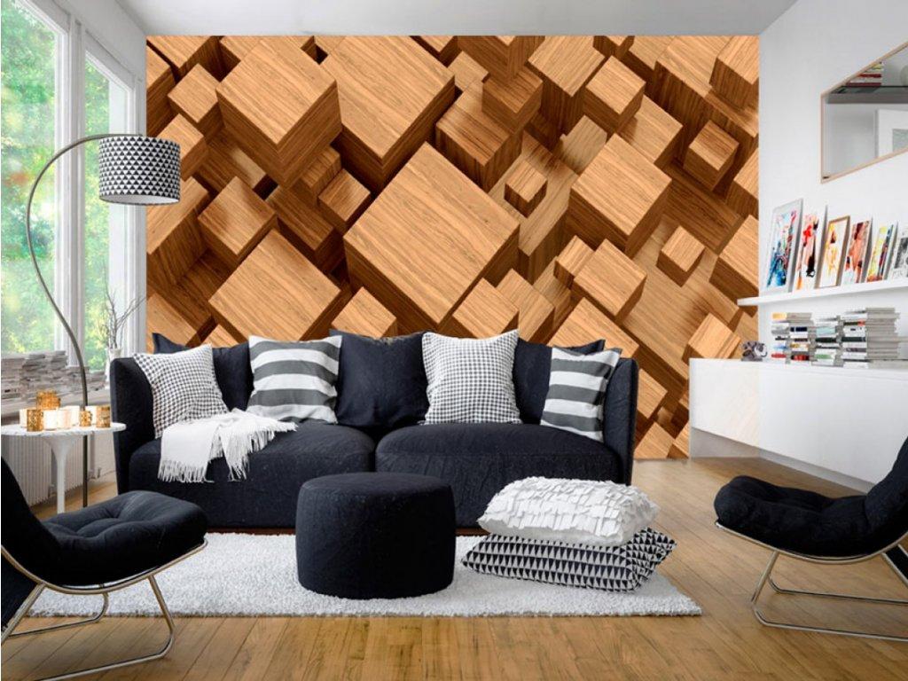 3D tapeta - Dřevěná skládanka II. (Rozměry (š x v) a Typ 147x105 cm - samolepící)