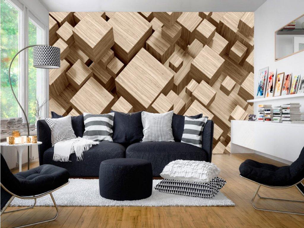 3D tapeta - Dřevěné krychle (Rozměry (š x v) a Typ 147x105 cm - samolepící)