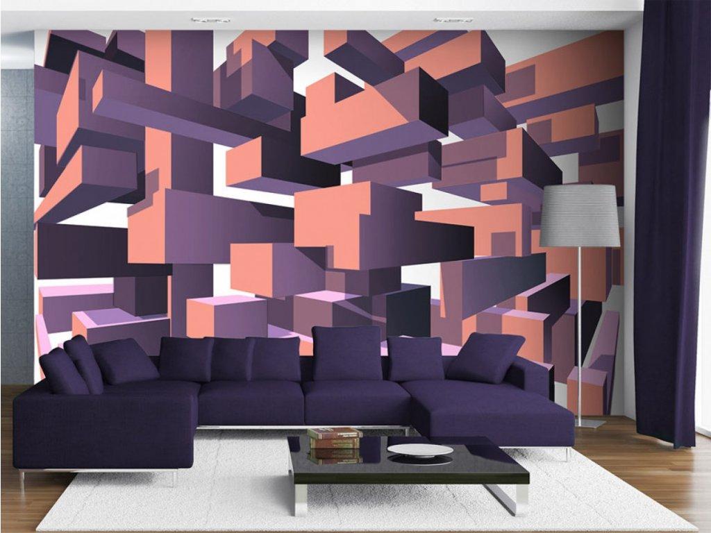 3D tapeta - Konstrukce fialová (Rozměry (š x v) a Typ 147x105 cm - samolepící)