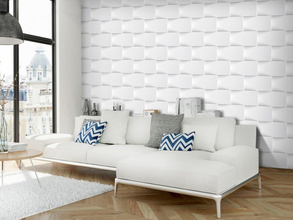 3D tapeta Bílá zeď (Rozměry (š x v) a Typ 147x105 cm - samolepící)