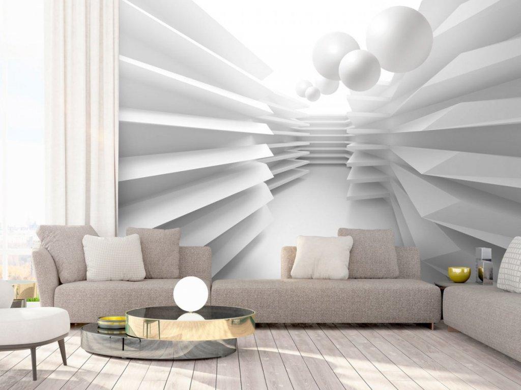 3D tapeta bílé bludiště (Rozměry (š x v) a Typ 147x105 cm - samolepící)