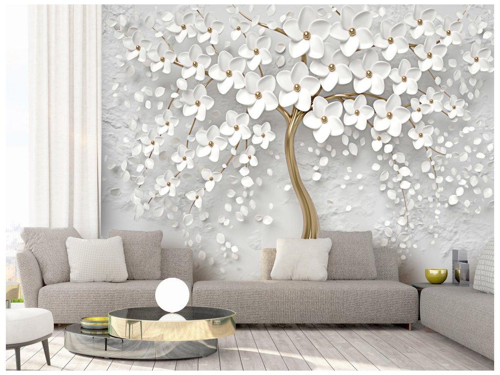 3D tapeta bílý strom (Rozměry (š x v) a Typ 147x105 cm - samolepící)