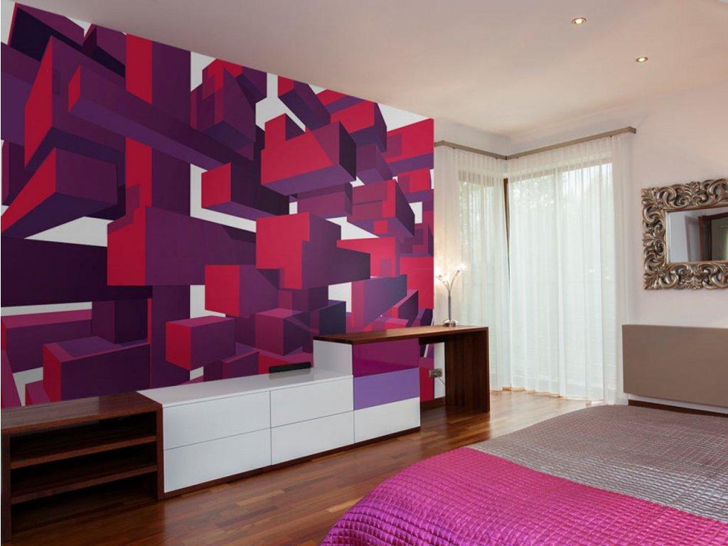 3D tapeta fialové kostky (Rozměry (š x v) a Typ 147x105 cm - samolepící)