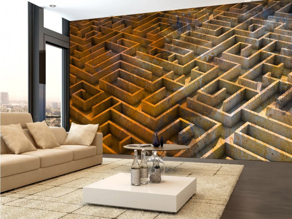 3D tapeta labyrint (Rozměry (š x v) a Typ 147x105 cm - samolepící)