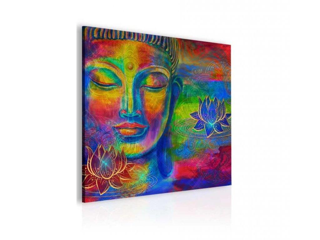 Abstraktní obraz barevný Buddha (Velikost (šířka x výška) 100x100 cm)