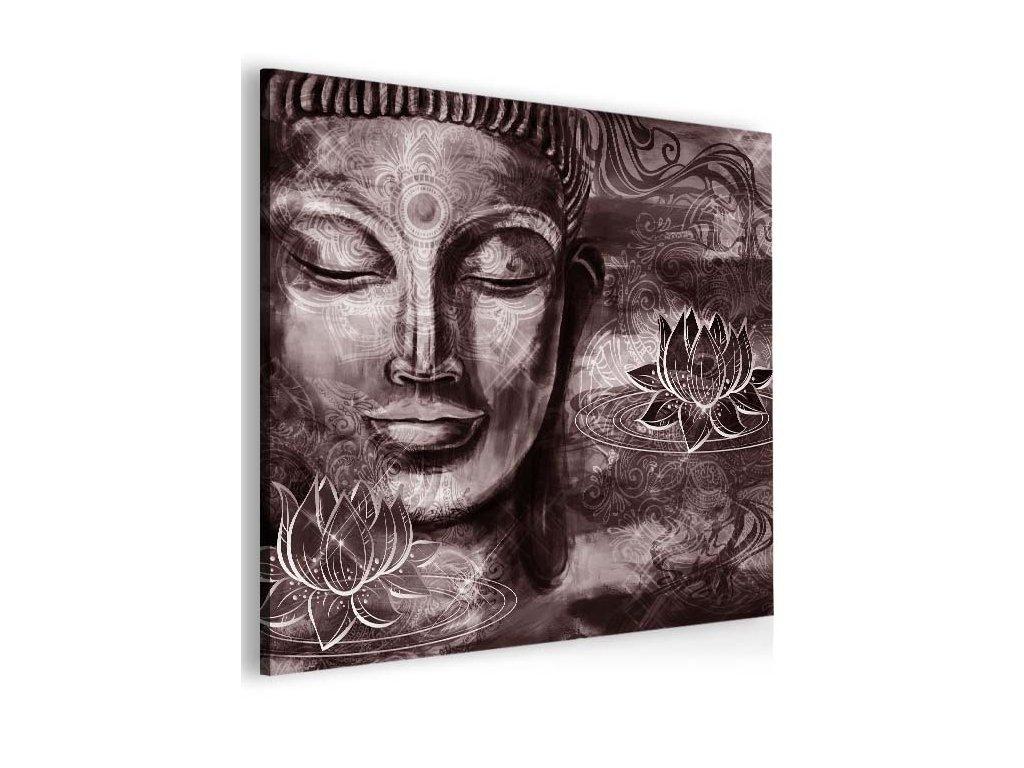 Abstraktní obraz fialovo hnědý Buddha (Velikost (šířka x výška) 100x100 cm)